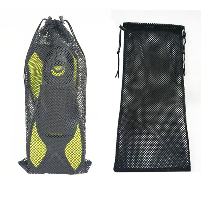 Outdoor Nylon Mesh Pouch Drawstring Bag Diving Swimming Snorkeling Fins Footwear
