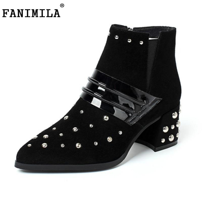 FANIMILA Fashion Real Leather Winter Shoes Women Thick High Heel Ankle Winter Boots For Women Rivets Pointed Toe Botas Size34-39 krazing pot new arrival pointed toe thick heel fashion chelsea boots runway winter shoes classic women rivets ankle boots l33