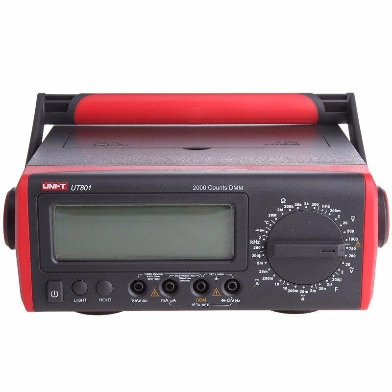 UNI-T UT801 LCD Bench Tipo multímetros Digitais 1000 V 10A Volt Amp Ohm Capacitância Hz Tester de Alta-Precisão