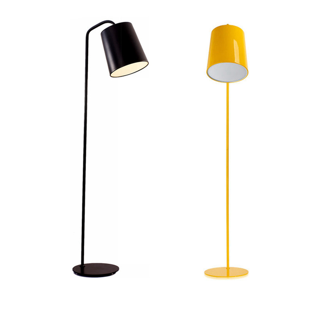 Modern Simple Floor Lamp Yellow Black White Color Lampshade Light Living Room Reading Bedroom Office