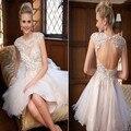 Sexy Backless curto Champagne vestidos de formatura oitava série 2016 Jewel mangas frisada Lace Tulle curto Prom Cocktail Dresses