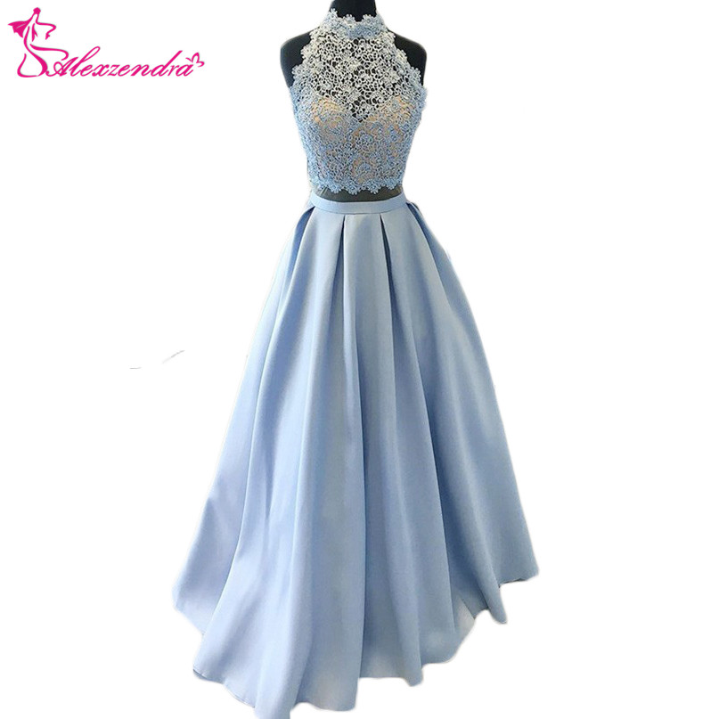Alexzendra Blue Two Pieces Long Prom Dresses Plus Size High Neck Lace Formal Evening Dresses Party