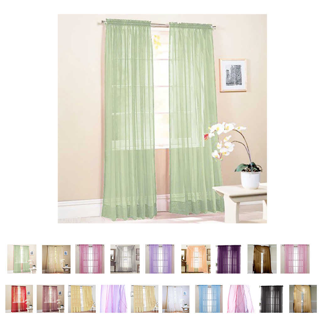 New Solid Color Voile Sheer Curtain Panel Window Curtains 100*200cm Pink Yellow