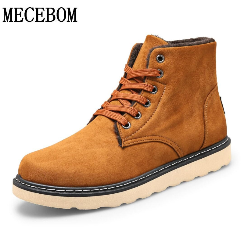 Men's winter snow boots fashion high-top plush warm men boots lace-up casual shoes sapato size 39-44  2019m new fashion men basic black winter warm shoes high top nuduck genuine leather luxury brand ankle snow boots flats size 38 44