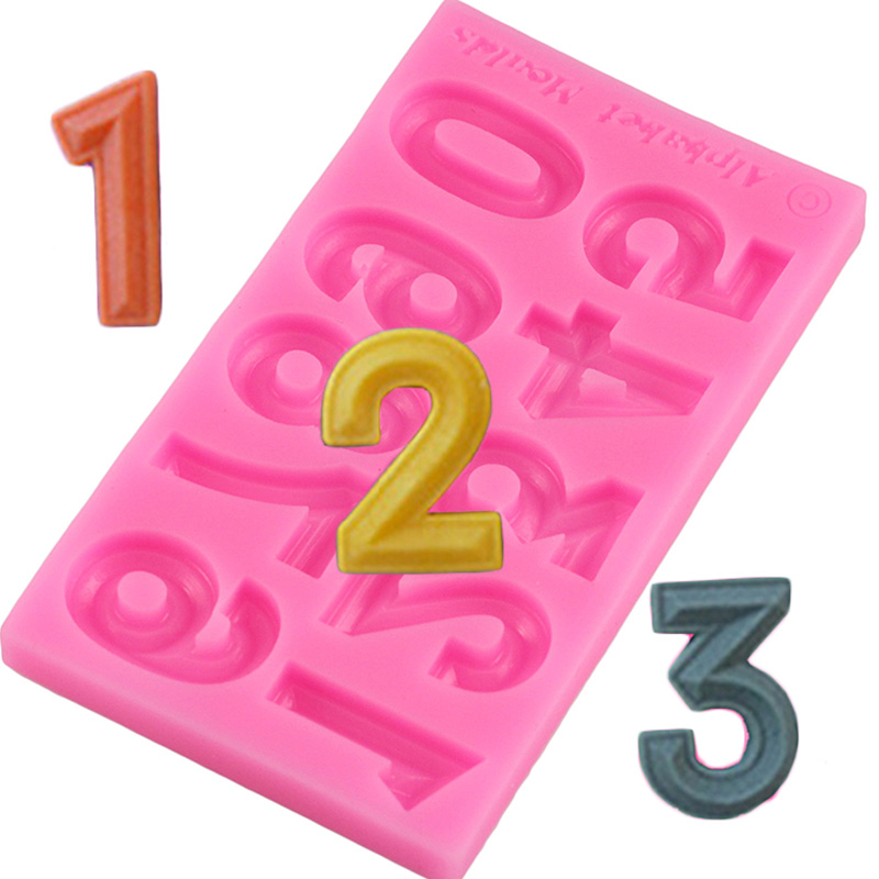 Numbers Silicone Mold 3D Fondant Molds Cakes Decorating Tools DIY Sugar Craft Chocolate Candy Gumpaste Kitchen Baking Moulds