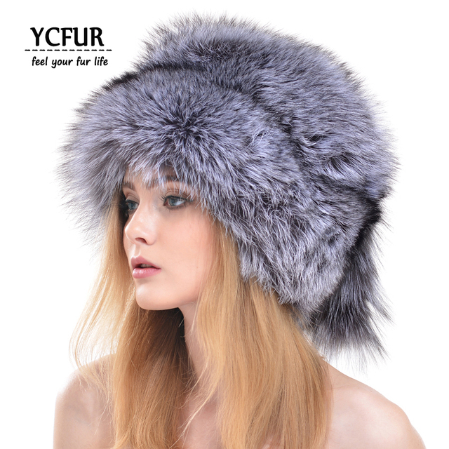 2016 New Arrival Luxury Women Winter Hats Whole Pieces Fox Fur Hat With Fox Fur Tail Warm Winter Fur Caps Female YH163