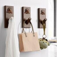 Creative decoration wall hook Nordic solid wood door hanger clothes coat rack porch key hook