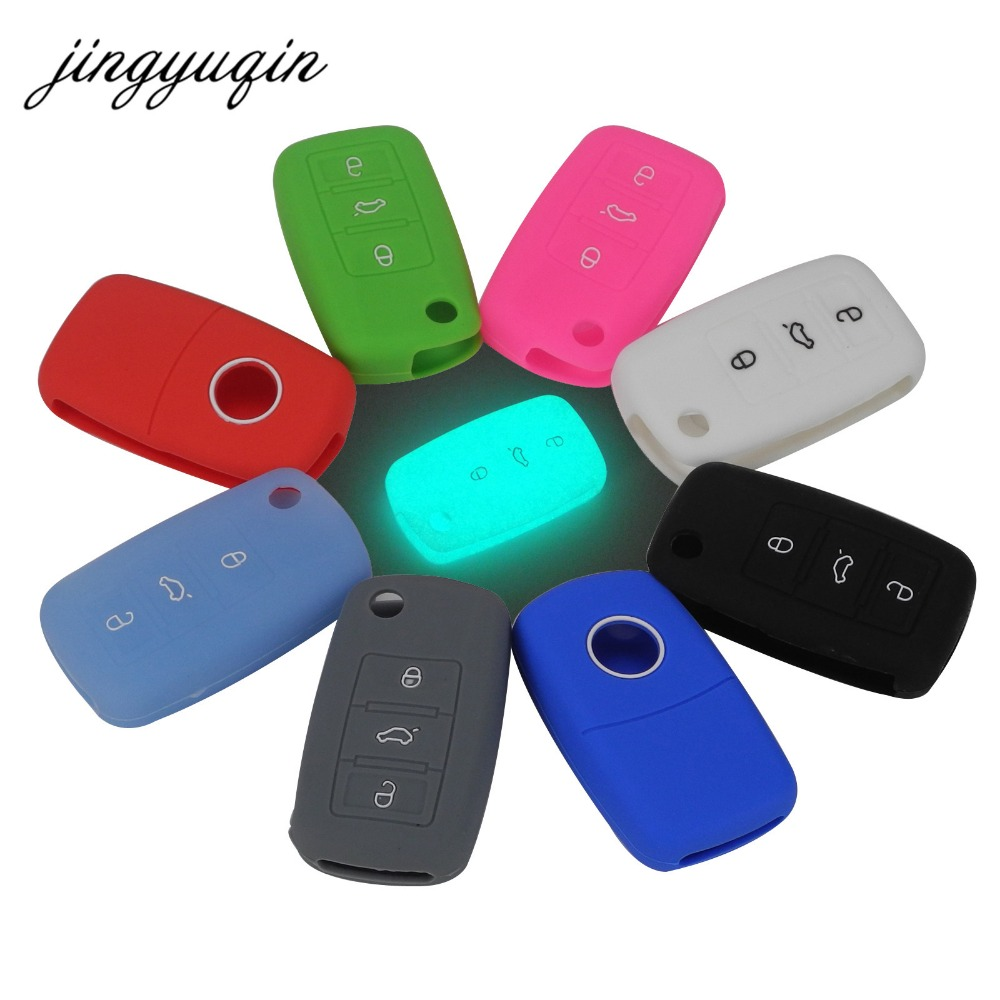 jingyuqin Silicone Key Case For VW Polo Passat B5 Golf 4 5 6 Jetta Mk6 Tiguan Golf CrossFox Plus Eos Scirocco Car Key Cover bluetooth link car kit with aux in interface & usb charger for vw bora caddy eos fox lupo golf golf plus jetta passat polo