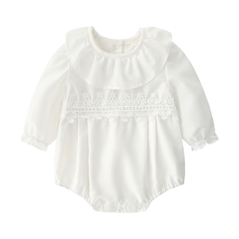 Embroidery Flowers Summer Newborn Baby Girl Bodysuits Long Sleeve Infant Girls Jumpsuit Coveralls Onesie Clothes White