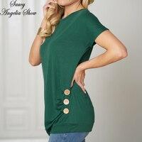 SAUCY ANGELIA Women T Shirt Vogue Green Summer Tops Button Cotton Shirt Femme Haut Mujer Verano Casual Tee Streetwear XXL