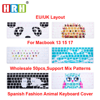 HRH Wholesale 50 Spanish ESP Animal Silicone Keyboard Cover Keypad Skin Protector for Macbook Air Pro Retina 13 15 17 EU Version