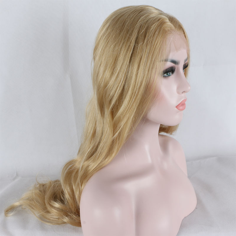 Bombshell Mix Gold Blonde Loose Wave Synthetic Lace Front Wig Glueless Heat Resistant Fiber Hair Free
