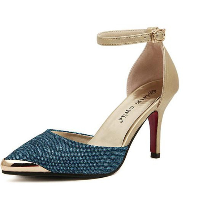 Fashion summer Female high heels Shallow mouth hollow ankle strap Women Shoes Gold blue Small Code 34 sandals Tacones Mujer