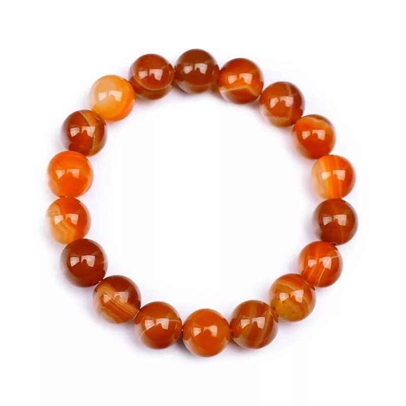 Asli Amber Agate Alam Pola Crystal Outdoor Gelang Manik Bulat Ornamen Pria Wanita Energi Perhiasan Kekasih Natal Baru