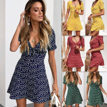 New Arrival Women Floral Plunge V Neck Mini Dress Short Sleeve Knotted Summer Beach Sundress