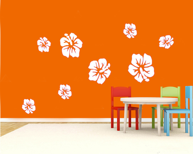 8pcs Large Size White Hibiscus Flower Wall Sticker Decal House