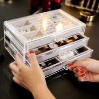 ANFEI C171 прозрачный пластиковый 3 Ящика Органайзер для хранения ювелирных изделий лоток коробка прозрачный PS ящики для хранения с кольцом для ...
