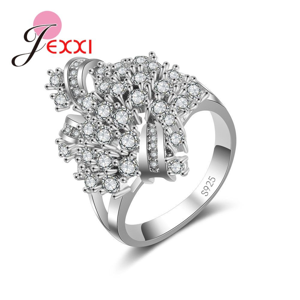 Explosions 925 Sterling Silver Ring Shape Novelty Crystal Zircon Jewelry  Party Holiday Valentine's Day Present