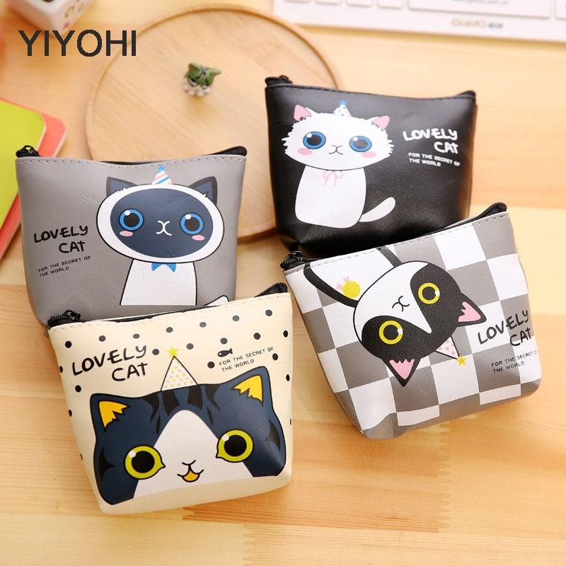 YIYOHIPU Cute Style Chis Cat Novelty Beautiful Gril Zipper Plush Square Coin Purse Kawaii Children Bag Women Mini Wallet