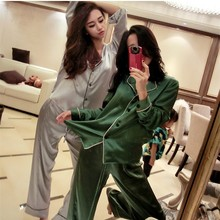 Daeyard Autumn Women Sleepwear Fashion Satin Female Pajama Set