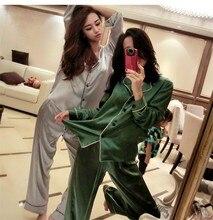 Daeyard outono mulher sleepwear moda cetim feminino conjunto de pijama de seda plus size pijamas conjunto de camisola duas peças roupas para casa