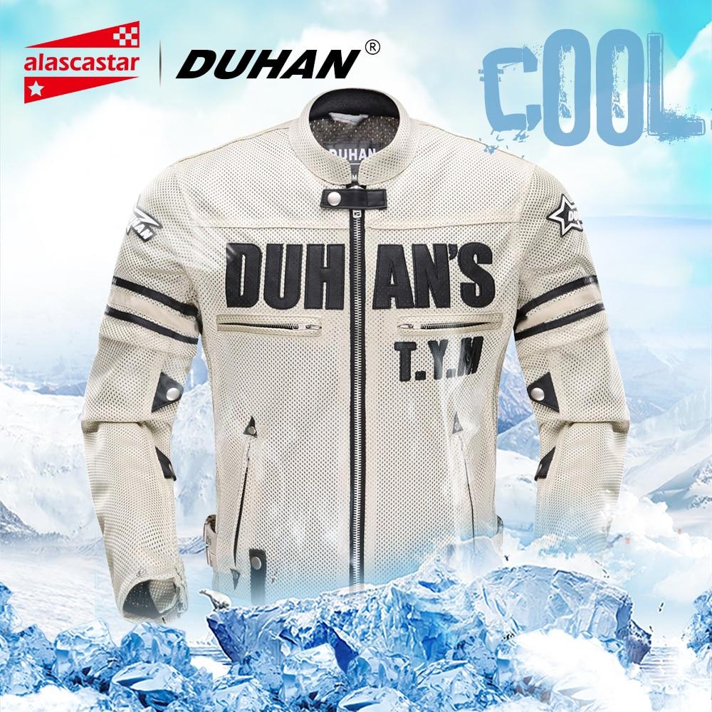 DUHAN Summer Motorcycle Jacket Men Breathable Mesh Riding Moto Jacket Motorcycle Body Armor Protector Moto Cross