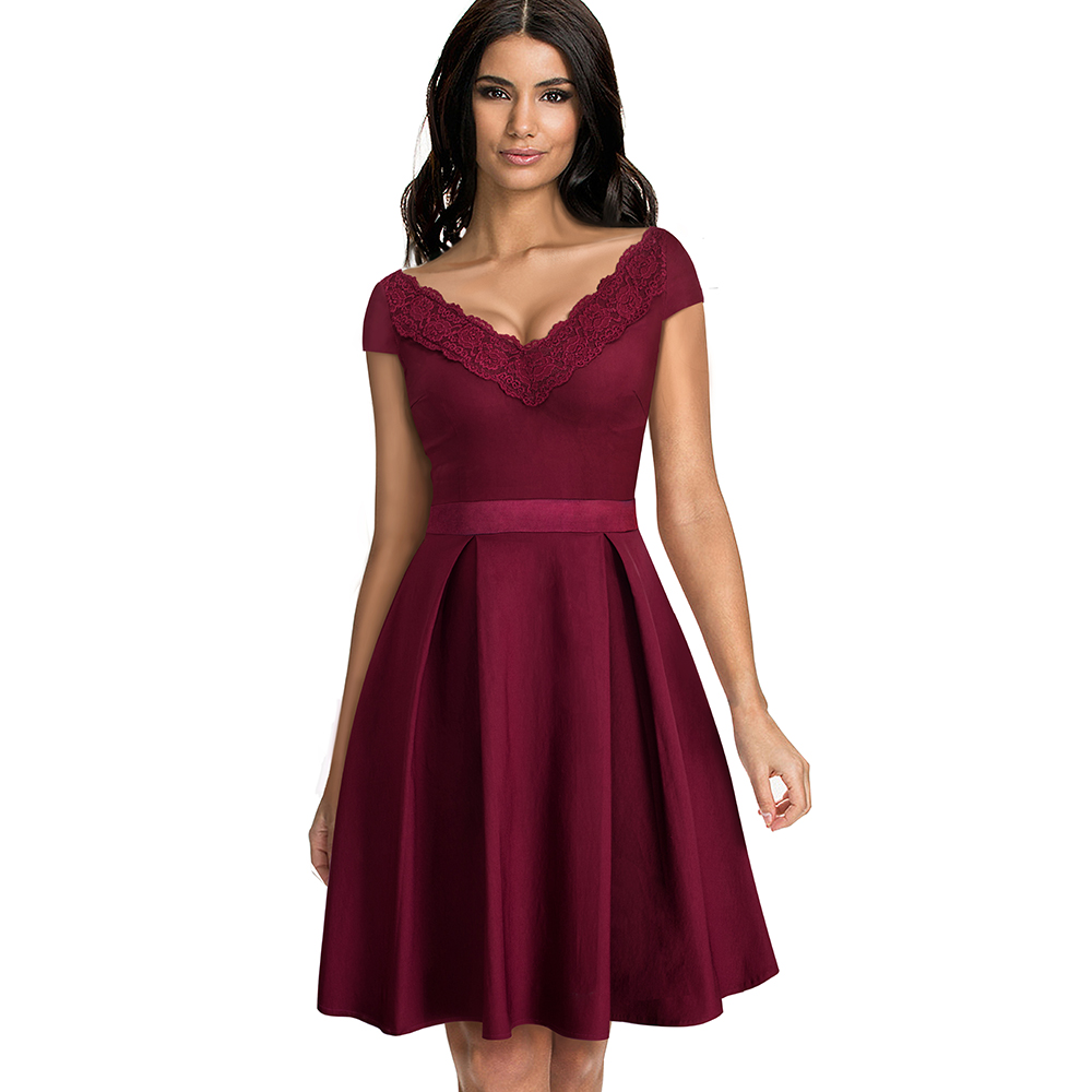 Women Elegant Summer Solid Color Cap Sleeve Casual Wear To Work Office Party Fitted Skater A-Line Swing Dress EA077