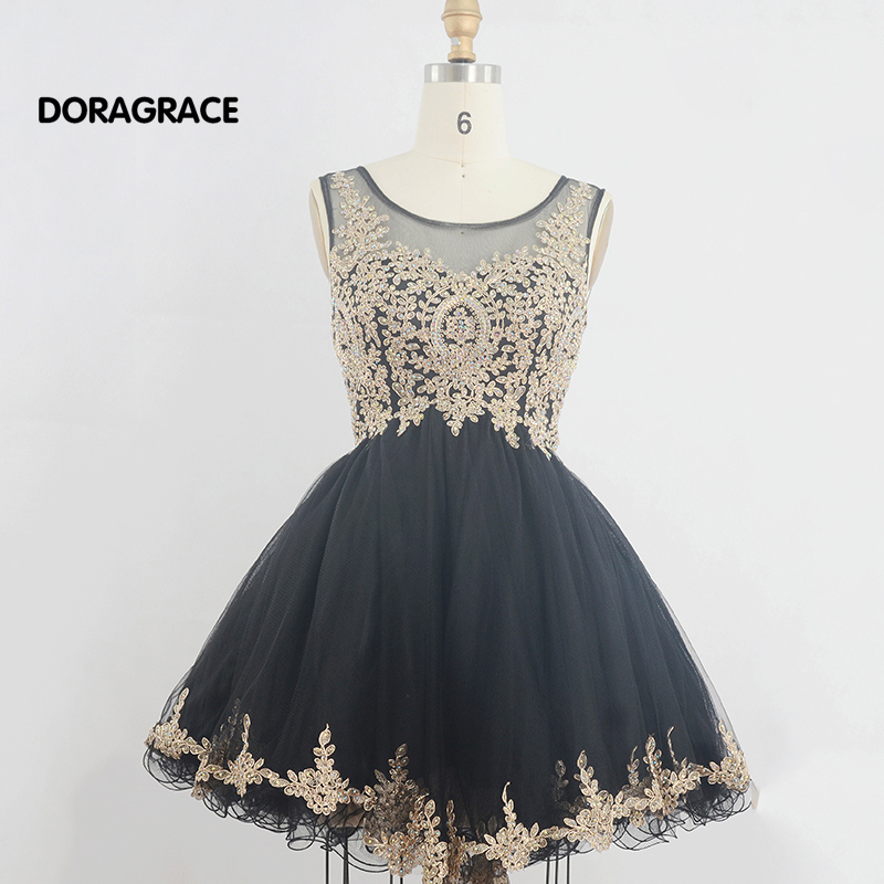 Doragrace Best Selling Real Photos Applique Tulle Beaded Designer   Cocktail     Dresses   Short Girls Party   Dress   DGC014