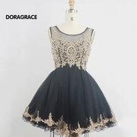 Doragrace Best Selling Real Photos Applique Tulle Beaded Designer Cocktail Dresses Short Girls Party Dress DGC014