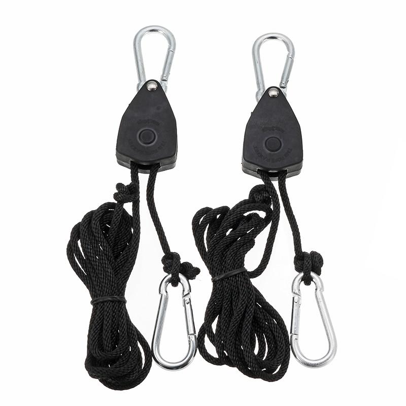 CLAITE 2pcs 1/8 Inch Adjustable Growing Light Rope Ratchet Lifters Reflector Hangers Light Lifters Zinc Alloy Hook 68kg/150lb