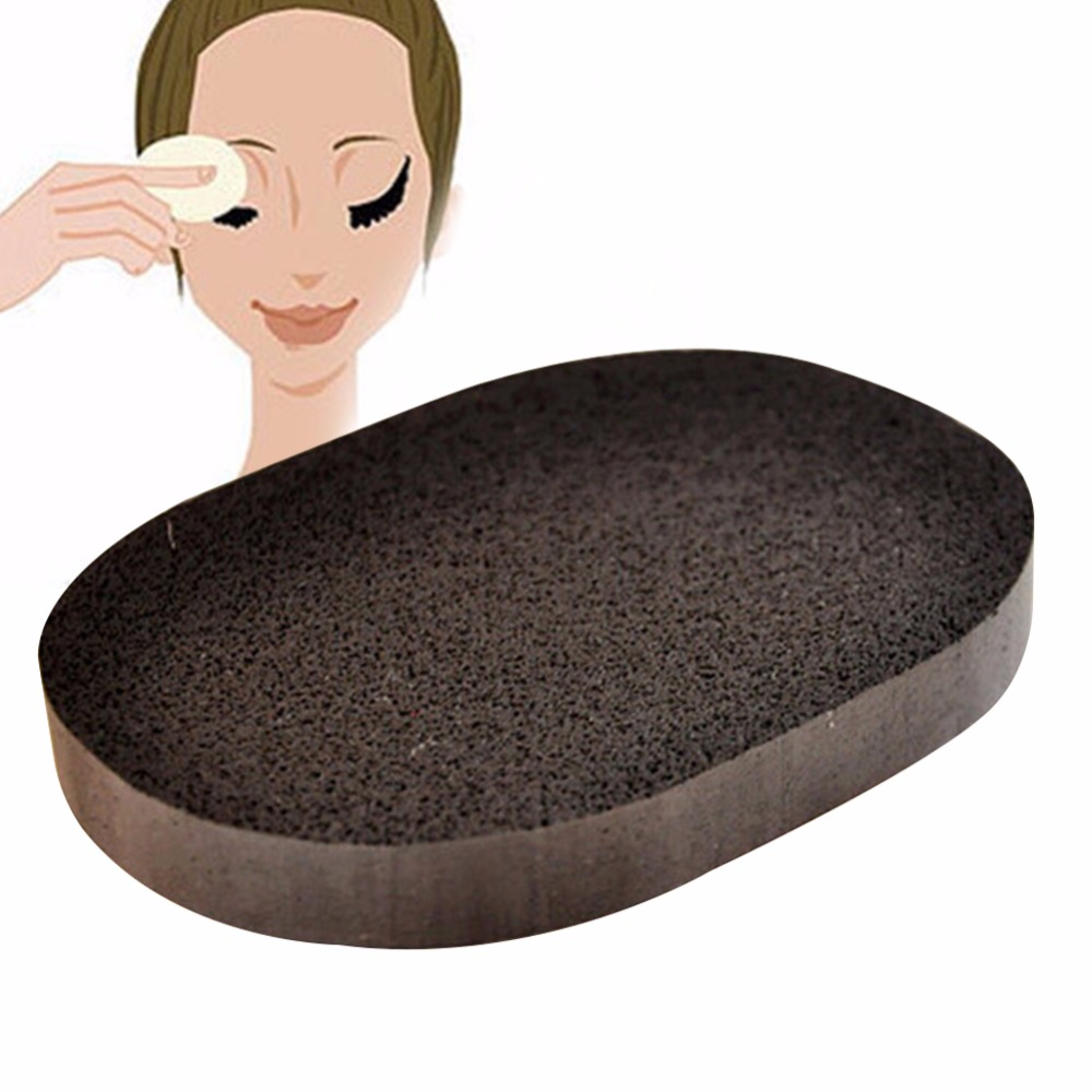 3 pcs /lot Soft Natural Black Bamboo Sponge Beauty  Facial Wash Cleaning Cosmetic Puff  Charcoal black Hot Sale A2