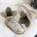 Clover Flower Pearl Wove Short Sheepskin Snow  Boots Natural Wool Inside Waterproof Winter Boots Women Sweet Boots Winter Shoes