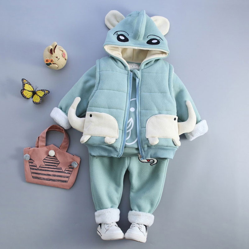 Cartoon Elephant Clothing Set For Newborn Baby Girl Boy Warm Winter Outerwear Sport Toddler Jackets Child Baby Clothes Suit 2017 baby boy girl clothing set toddler clothes autumn cartoon tracksuits kids sport suit set coat pant 2pcs casual cardigan coats