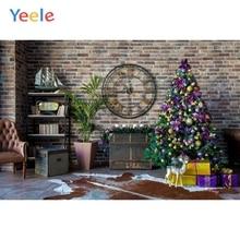 Yeele Vinyl Christmas Tree Gifts Clock Brick Wall Party Photography Backdrop Customized Photographic Background Photo Studio sjoloon christmas photography backdrops christmas tree photographic background snow photo backdrop fond photo studio vinyl props