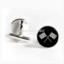 2017 Free Shipping Racing Chequered Flag Cufflinks Flags Cuff link Silver Shirt Cufflinks For Mens