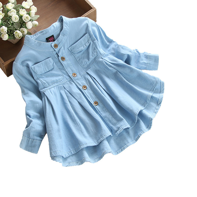 suton Baby Girls Clothes Princess Dress Jeans Casual Long Sleeve Stand Collar Dress Cotton Denim Party Dresses Clothes Outfits casual skew collar short sleeve bodycon dress