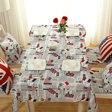 Senisaihon Europe Polyester Cotton Tablecloth Cartoon American Flag pattern Dustproof Western Dining table rectangle