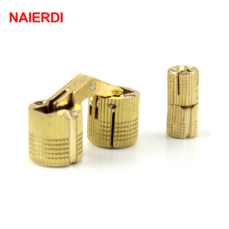 NAIERDI 4PCS 14mm Copper Barrel Hinges Cylindrical Hidden Cabinet Concealed Invisible Brass Door Hinges For Furniture Hardware
