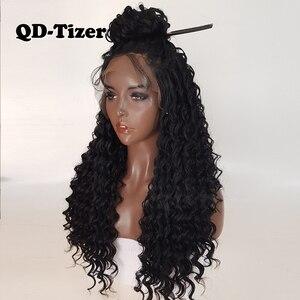 Image 2 - QD Tizer длинные вьющиеся парики, синтетические кружевные передние парики, безклеевые 180% черные волосы, Детские волосы из термостойкого волокна