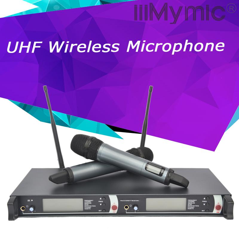 Prix pour Professionnel True Diversity UHF/PLL Microphone Sans Fil Système avec Double Émetteur De Poche Mic pour la Scène DJ Chanteur