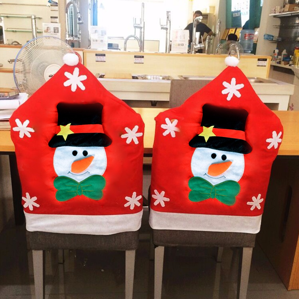 6pcs Creative Christmas Snowman Chair Cover 7049cm Cartoon Dining Room Home Party Red Chairs