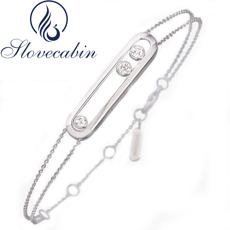 Slovecabin Original 925 Sterling Silver Bracelet With Moved Stone For Women Sterling-Silver-Jewelry Wholesale Chain Bracelets
