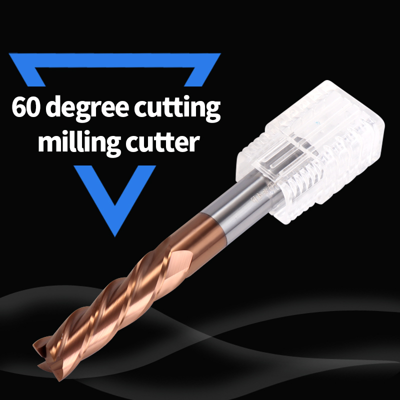 Cnc Fraise Carbure HRC60 4 Flute Cutting Alloy Carbide Tungsten Steel Milling Cutter End Mill For Freze Ucu Metal Milling Tools