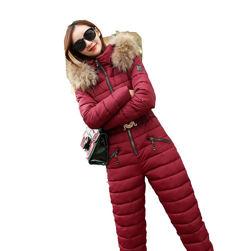 winter jacket women outdoor one-piece female warm ski suit jumpsuit long sleeve big fur   parka   winter coat women 1124-198