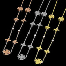 Hot Sale Hollow Seven Flowers Gold Color / Rose Gold Color / Silver Color Titanium Steel Necklace