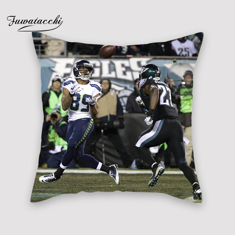 Fuwatacchi NFL Touchdown Cover Plush Soft Cute Throw Pillow Cover Decorative Sofa Quarterback Sack Pillow Case Pillowcase image