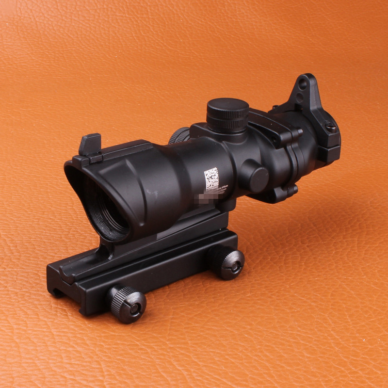 Hunting Riflescope acog 4x32 Scope with Iron Sights 20mm Weaver Picatinny Rail Mounts for Tactical Airsoft 4x magnifier scope fts flip to side for aimpoint or similar scopes sights for airsoft hunting