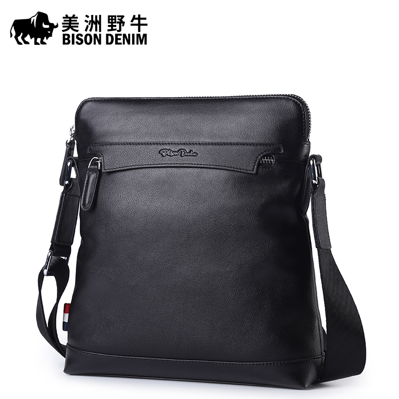 2017 New Hot Men Shoulder Bags BISON DENIM Brand Genuine Leather Messenger Bag Men's Business Casual Travel Bags Free Shipping free shipping dbaihuk golf clothing bags shoes bag double shoulder men s golf apparel bag
