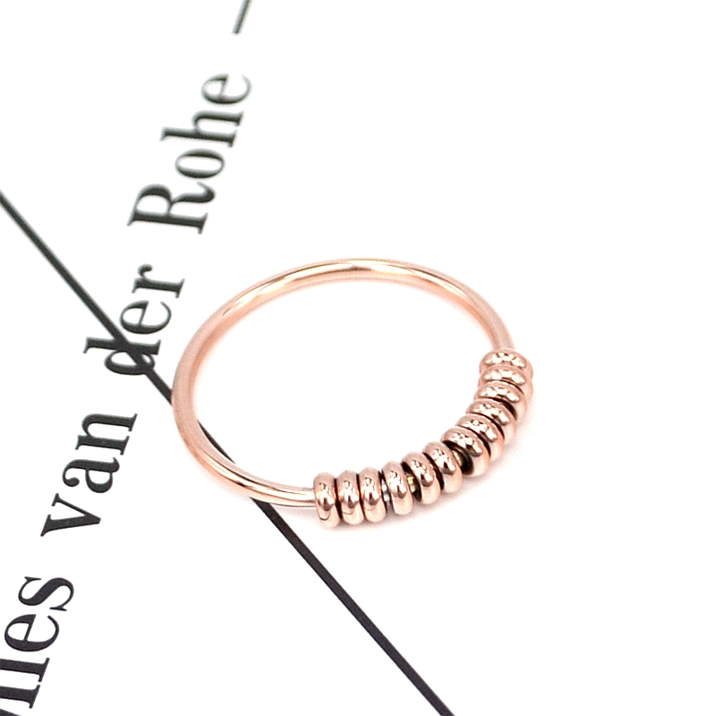 YUN RUO 2017 Rose Gold Silver Colors Steel Bean Ring for Woman Man Gift 316L Rostfritt stål smycken Högpolver bleknar aldrig