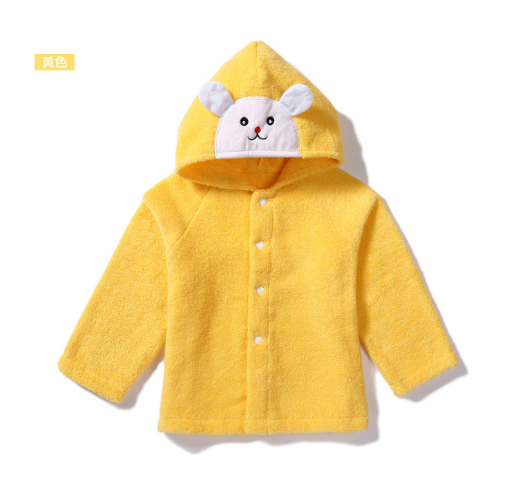 Осенне-зимняя Милая шапка с изображением кролика и медведя, детское полотенце с капюшоном, накидка, банный халат из хлопка, мягкий абсорбирующий халат для спа - Цвет: Yellow